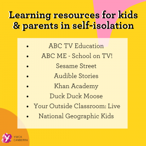 Learning resources for kids and parents in self-isolation graphics